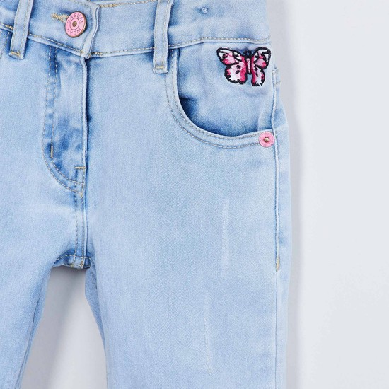 MAX Embroidered Ice Wash Jeans
