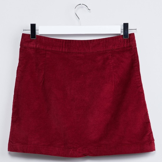 MAX Solid Mock Button Skirt