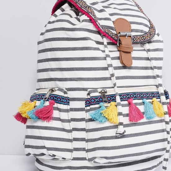 MAX Striped Tasselled Backpack
