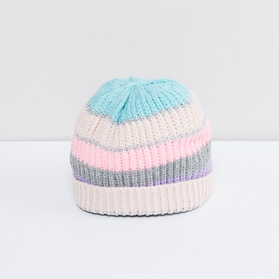 MAX Colour-Blocked Knitted Beanie with Mittens