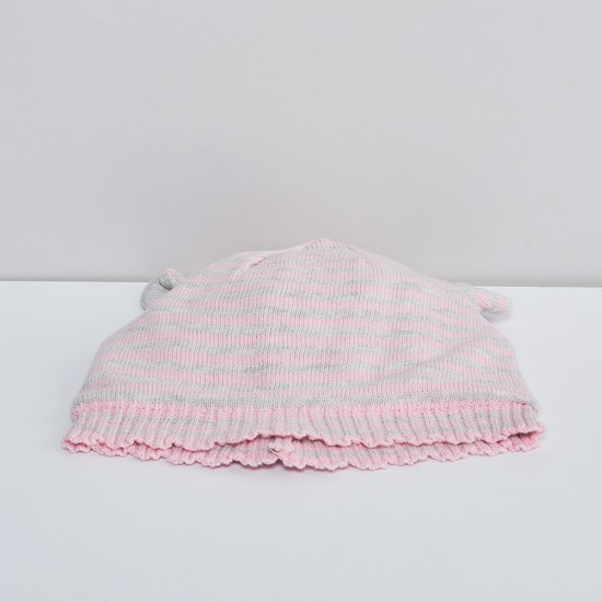 MAX Striped Knitted Beanie with Mittens