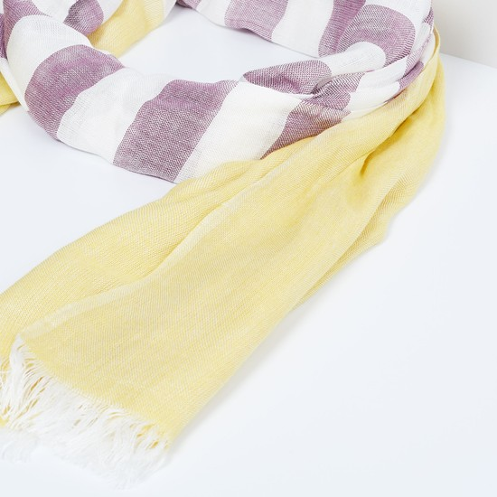 MAX Striped Frayed Hem Scarf