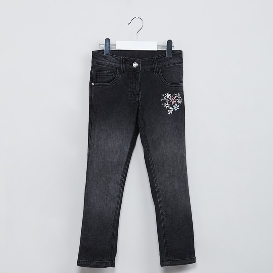 MAX Floral Embroidered Low Rise Slim Fit Jeans
