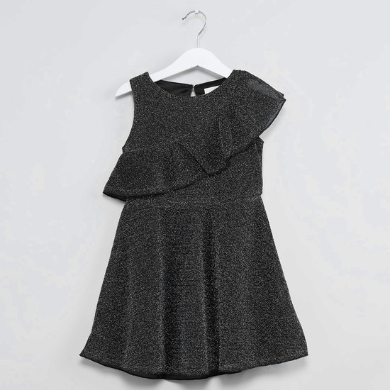 MAX Shimmery Ruffle Trim Party Dress