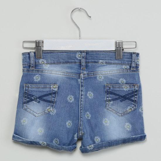 MAX Acid-Washed Floral Denim Shorts