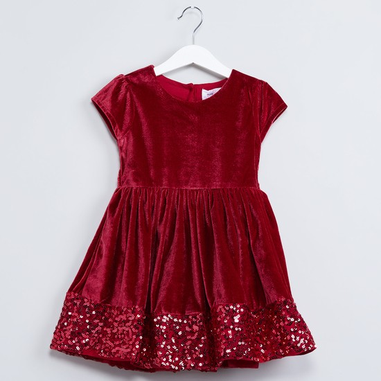 MAX Sequinned Hem Gathered Party Dress