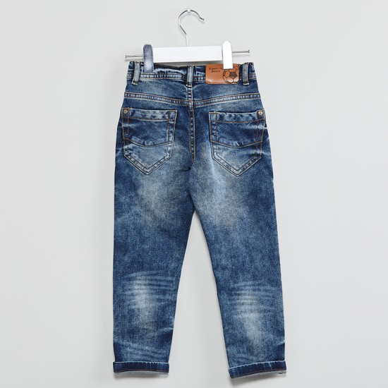 MAX Stone-Washed Printed Jeans