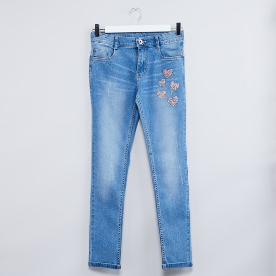 MAX Beaded Heart Detail Stonewashed Jeans