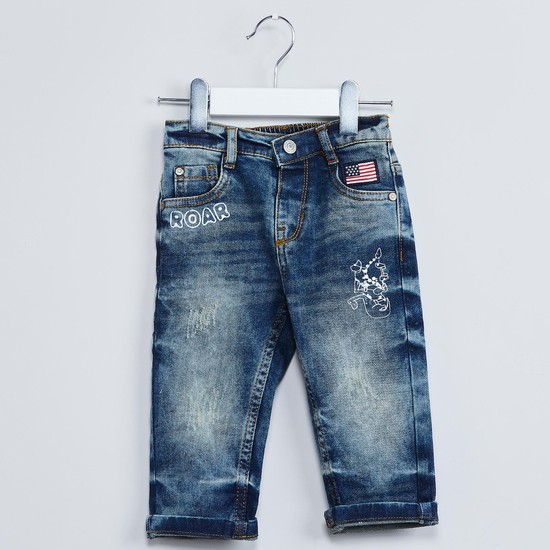 MAX Stone-Wash Printed Jeans