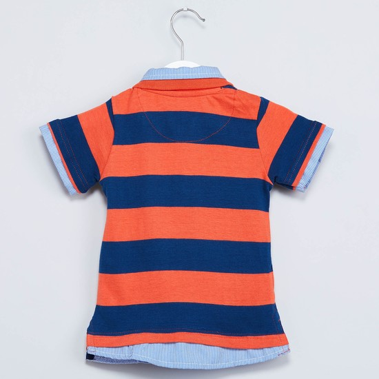 MAX Striped Layered Polo-Neck T-shirt