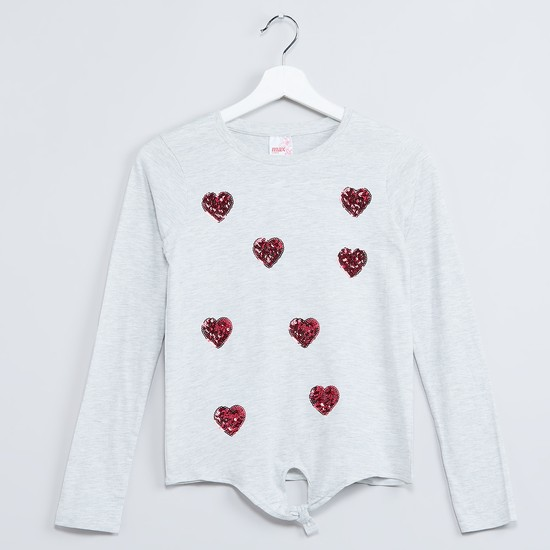 MAX Sequinned Heart Full Sleeve T-shirt