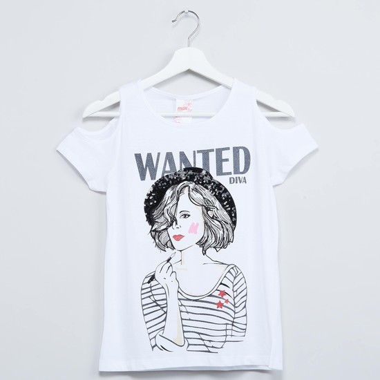 MAX Printed Cold-Shouldered Top