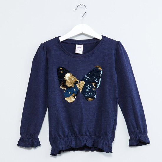 MAX Sequined Butterfly Long Sleeve Top