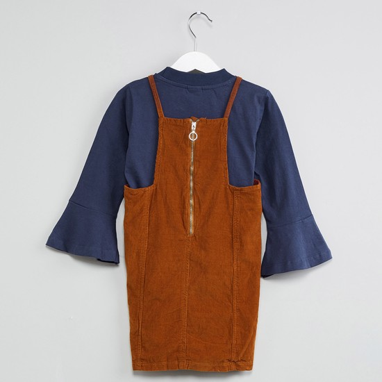 MAX Solid Button Detail Layered Romper
