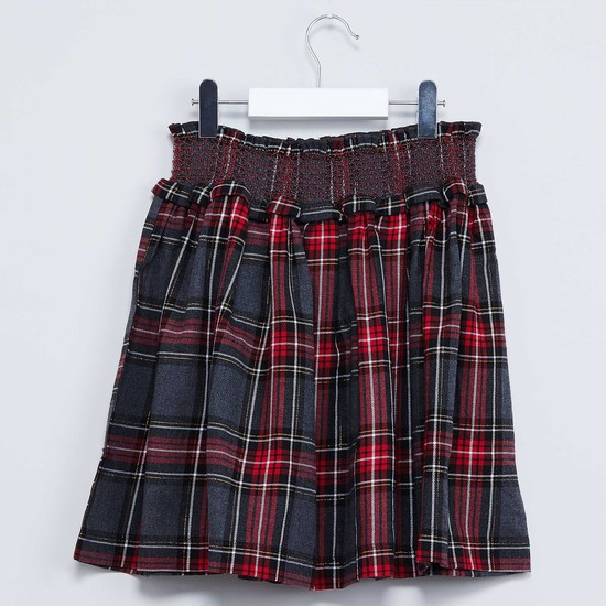 MAX Checked Smocked Waist Skirt