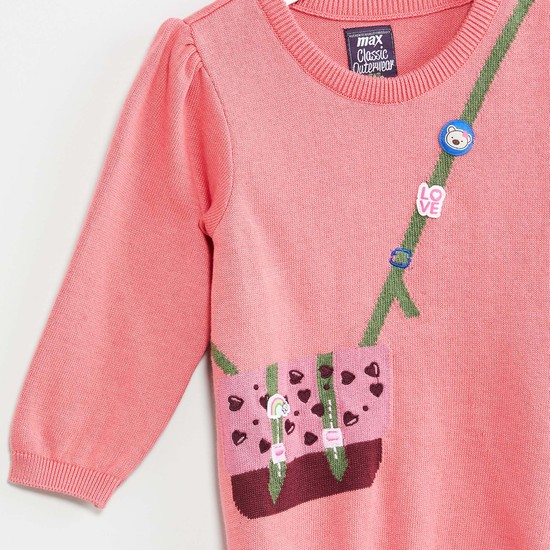 MAX Applique Puffy Sleeve Pullover