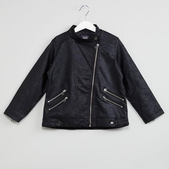 MAX Textured Biker Jacket with Asymmetrical Zipper