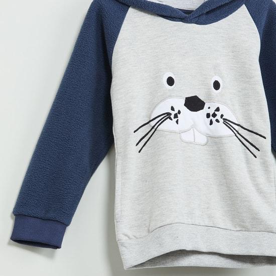 MAX Applique Hooded Fleece Sweatshirt
