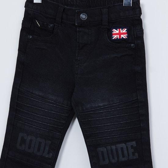 MAX Printed Panelled Slim Fit Jeans