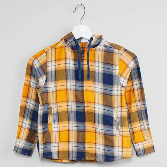 MAX Checked Hooded Zip-Up Shirt