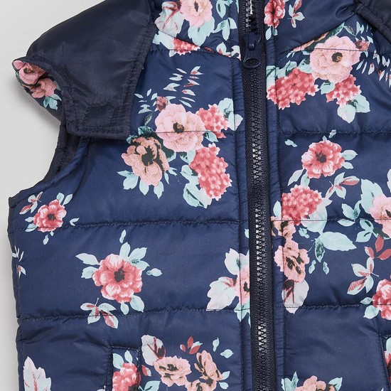 MAX Floral Quilted Zip-Up Jacket