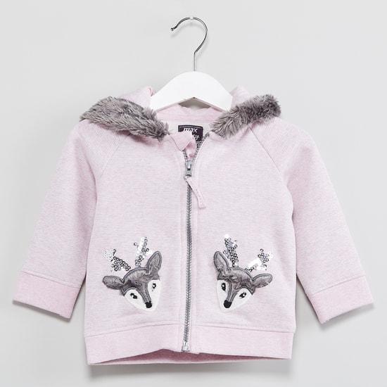 MAX Applique Detail Zip-Up Fleece Sweatshirt