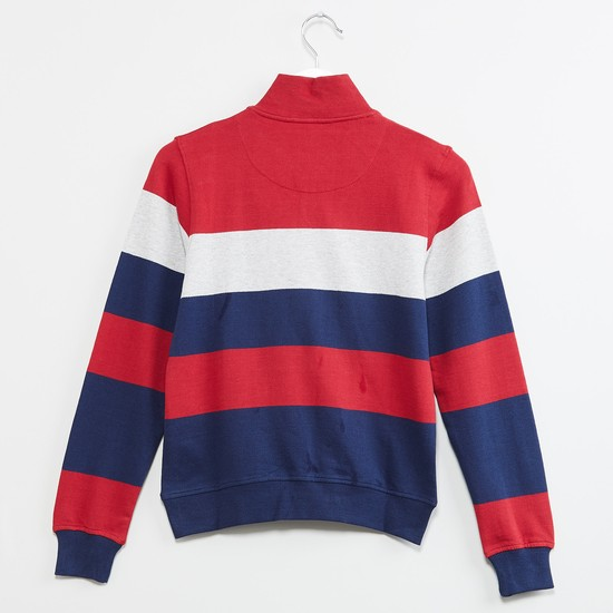 MAX Striped Raised Collar Sweatshirt