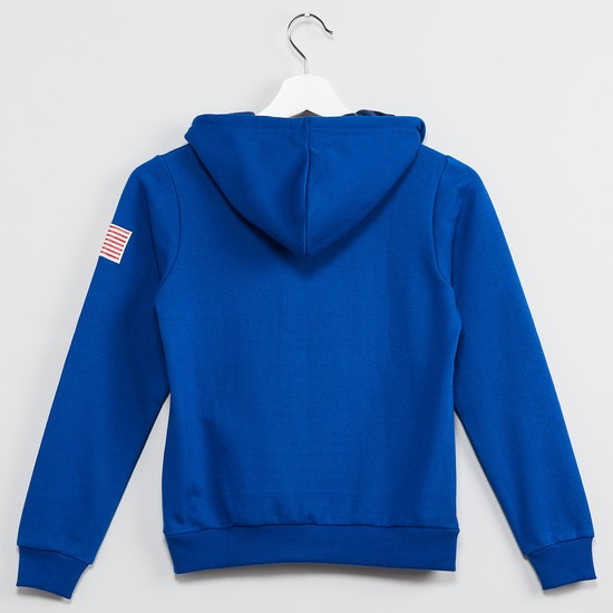 MAX Applique Zip-Up Hooded Sweatshirt