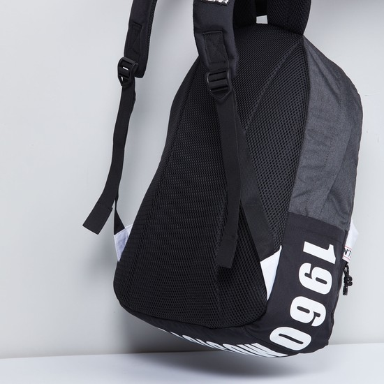 MAX Printed Panelled Zip-Closure Backpack