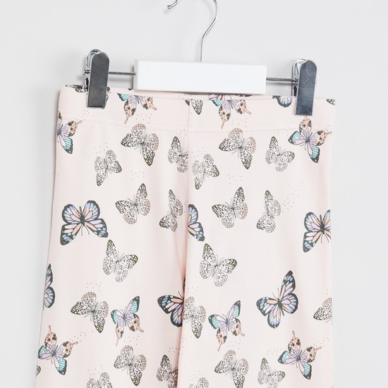 MAX Butterfly Print Bow Trim Leggings