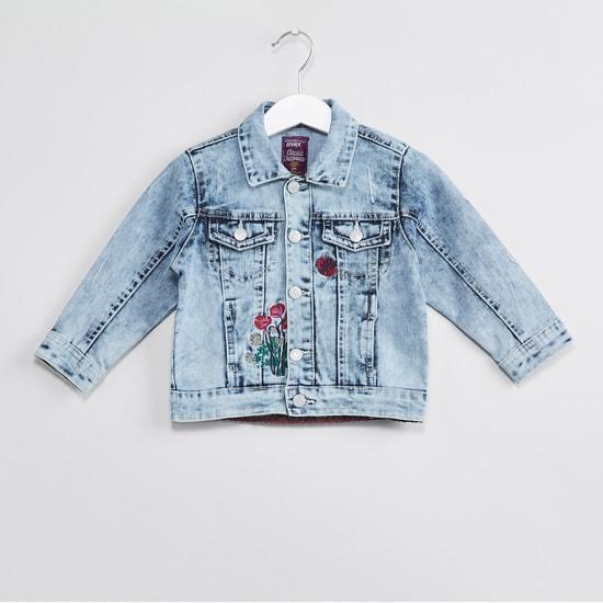 MAX Rose Applique Detail Denim Jacket