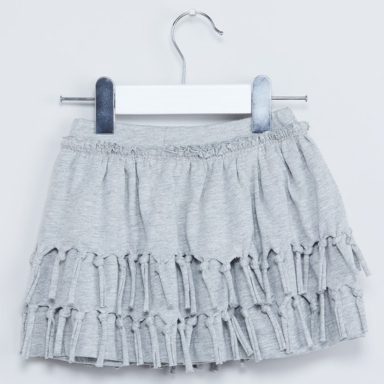 MAX Melange Tiered Fringe Detailed Skirt