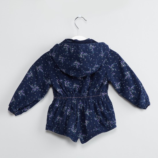 MAX Floral Print Hooded Bomber Jacket
