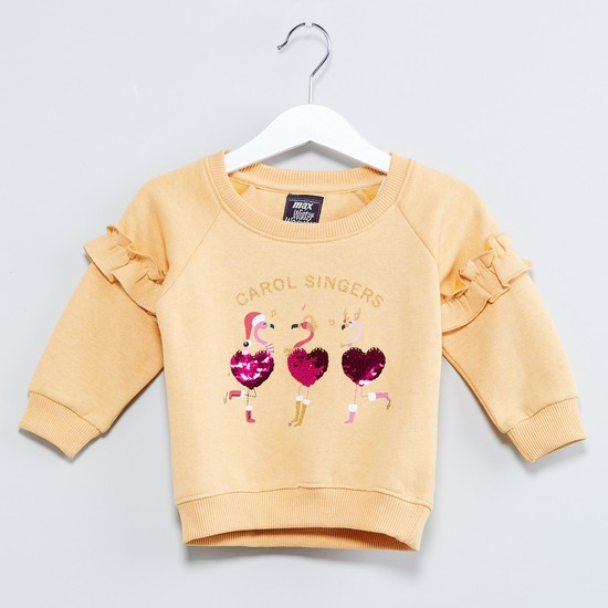 MAX Carol Singing Print Ruffled Raglan Sleeve Sweatshirt