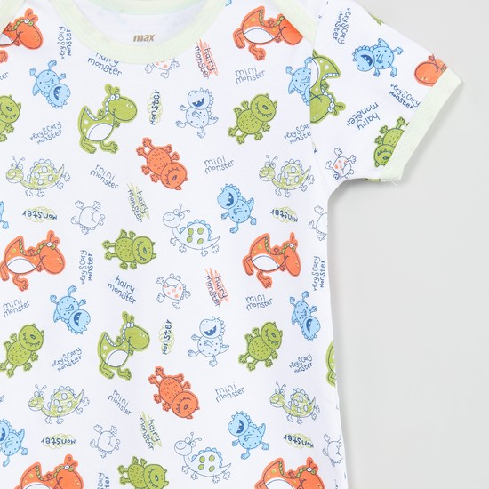 MAX Dino Printed Buttoned Bodysuit- Set of 2