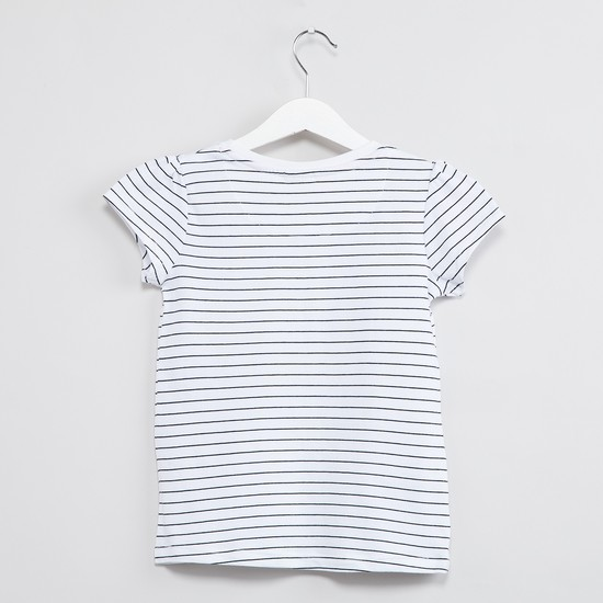 MAX Striped Embellished Cap Sleeve Top