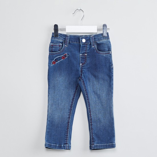 MAX Lightly Washed 5-Pocket Jeans with Embroidery