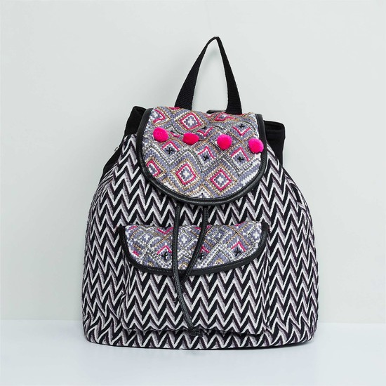 MAX Jacquard Print Pom Pom Detail Backpack