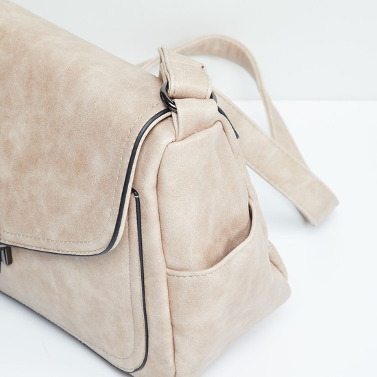 MAX Textured Flap Closure Sling Bag