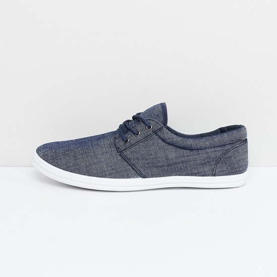 MAX Textured Canvas Lace-Up Denim Shoes