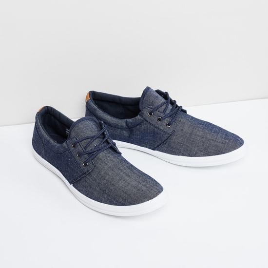 MAX Textured Canvas Lace-Up Denim Shoes
