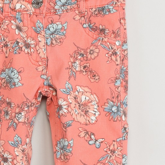 MAX Floral Print Flat-Front Trousers