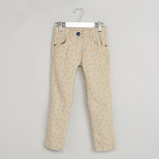 MAX Floral Print Flat Front Trousers