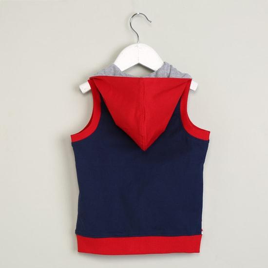 MAX Printed Sleeveless Hooded Jacket