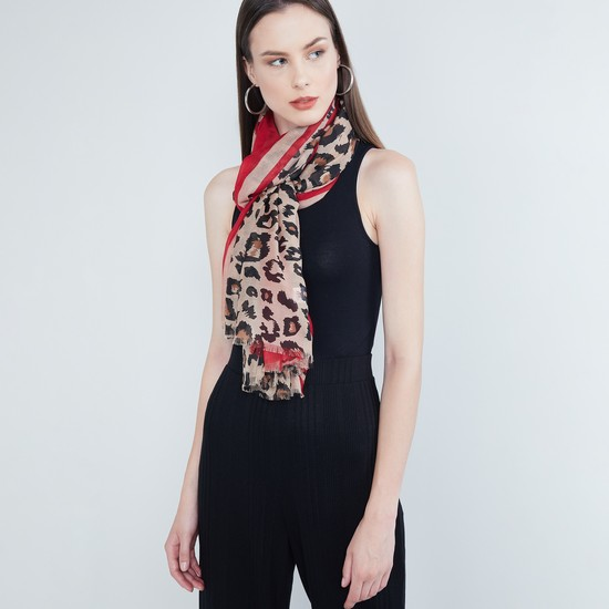 MAX Animal Print Scarf with Fringed Border