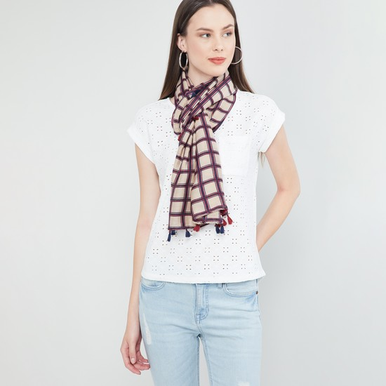 MAX Checked Scarf with Tassels