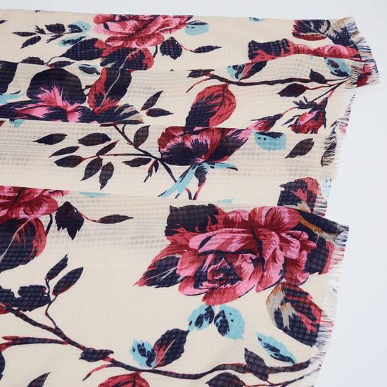 MAX Floral Print Scarf with Pom-Pom Border