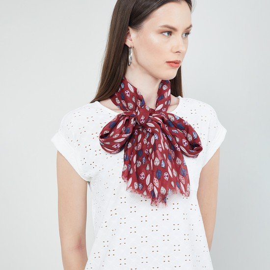 MAX Tropical Print Scarf with Fringe Border