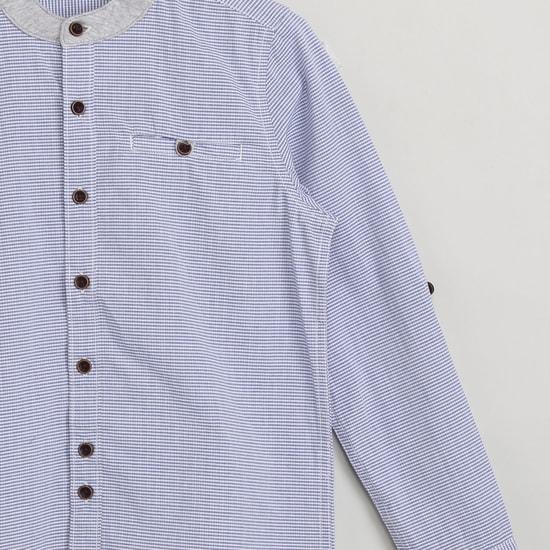 MAX Mandarin Collar Checked Shirt