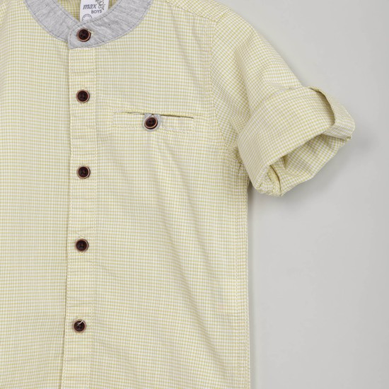 MAX Checked Mandarin Collar Shirt